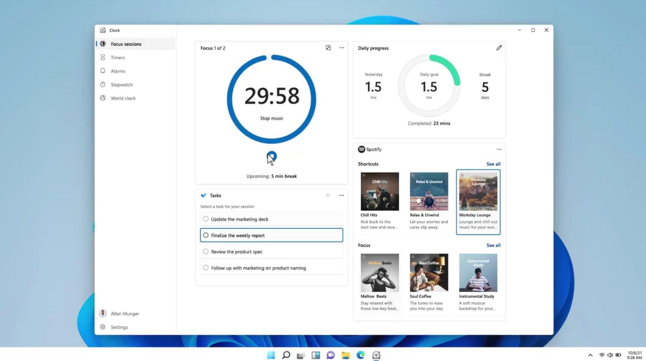 Aplicação de relógio do Windows 11