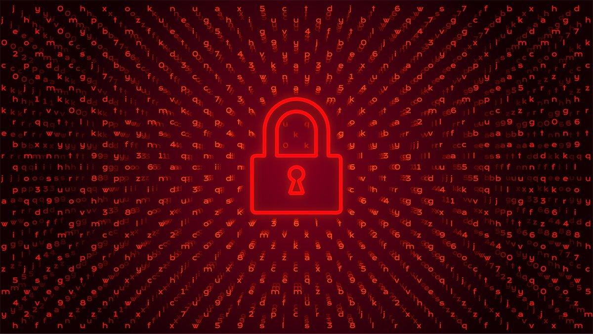 ransomware com cadeado vermelho