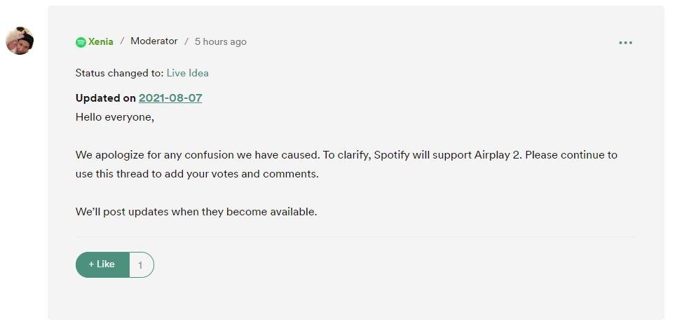 projeto do spotify com airplay 2 de volta ao ativo