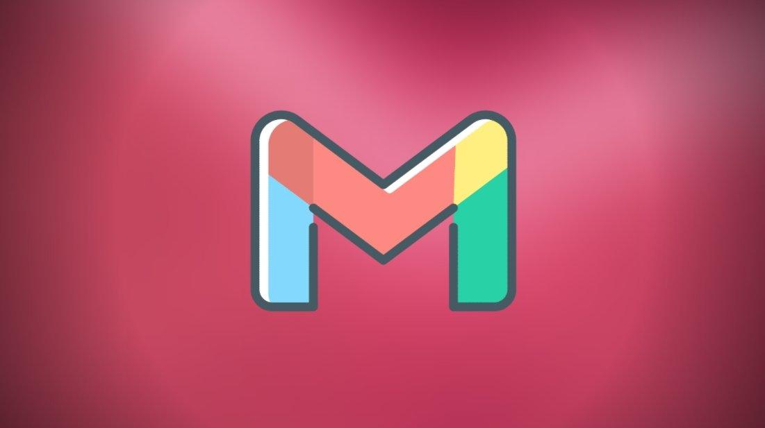 Logo do Gmail sobre fundo vermelho