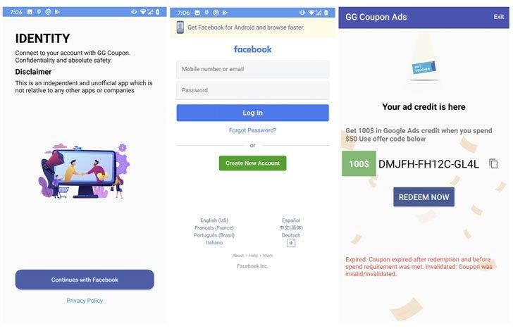 falsas aplicações de login no Facebook