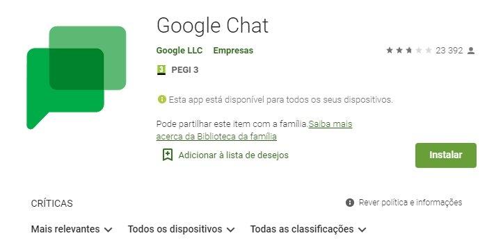 Google chat na play store