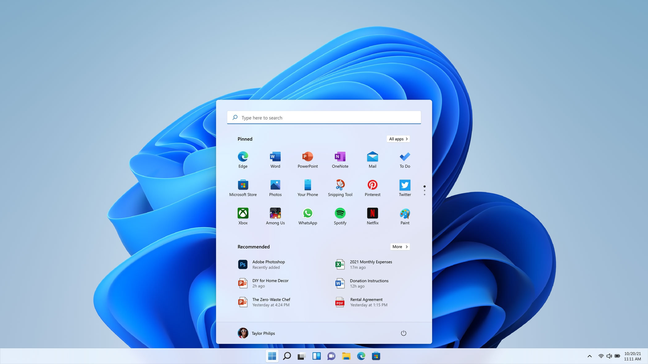 Windows 11 menu inicial