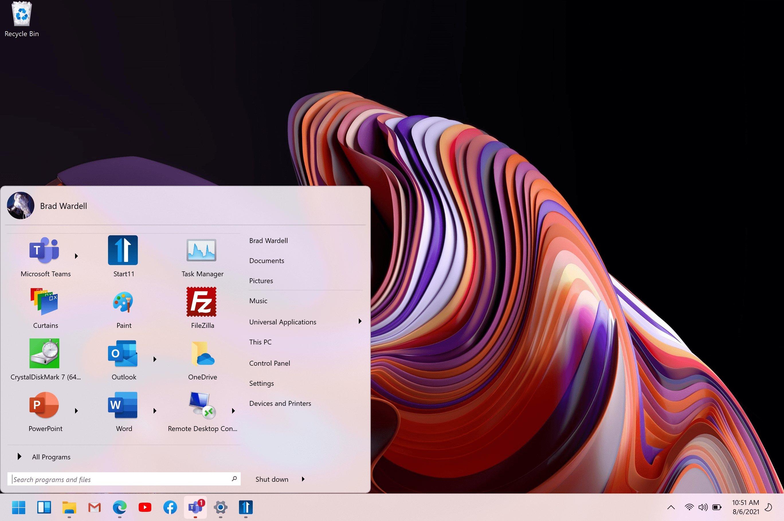 Menu iniciar do Windows 11