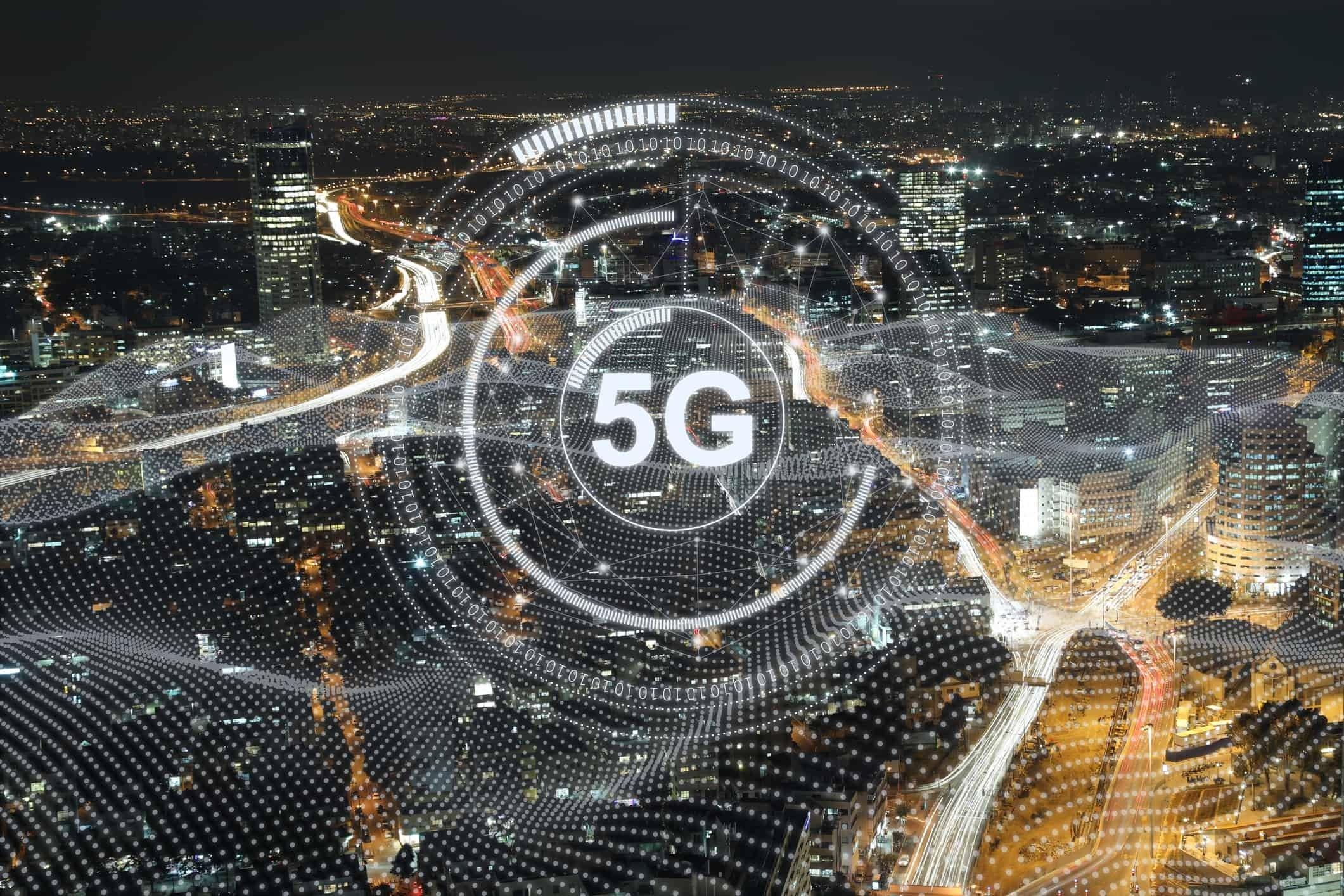 redes 5G sobre uma cidade