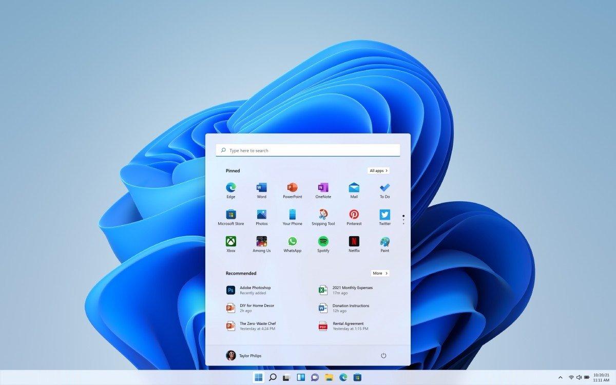 Windows 11 interface do sistema em branco