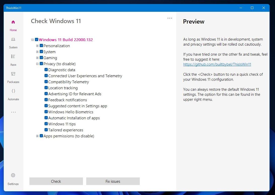 Windows 11 configurações