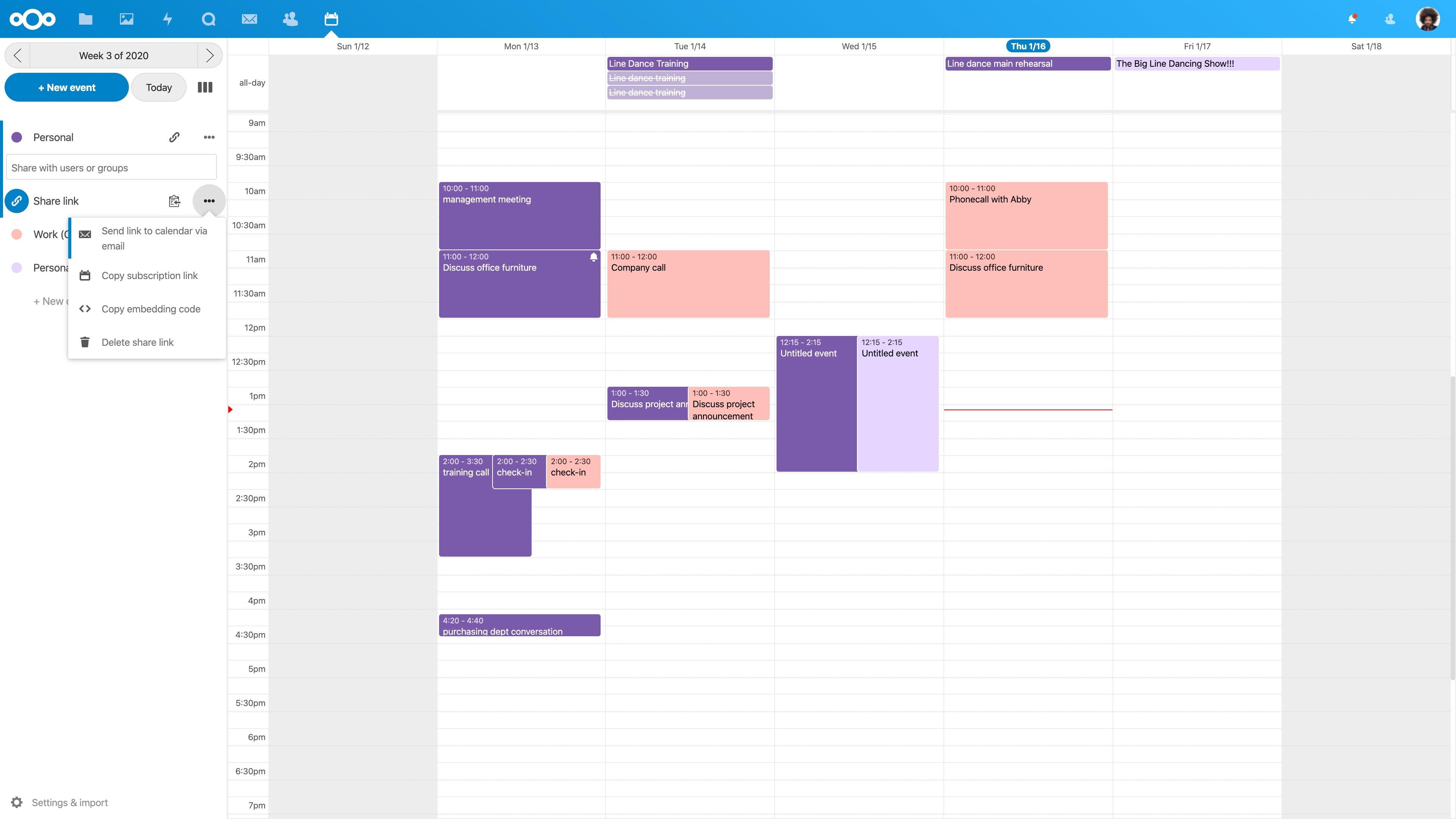 nextcloud calendário