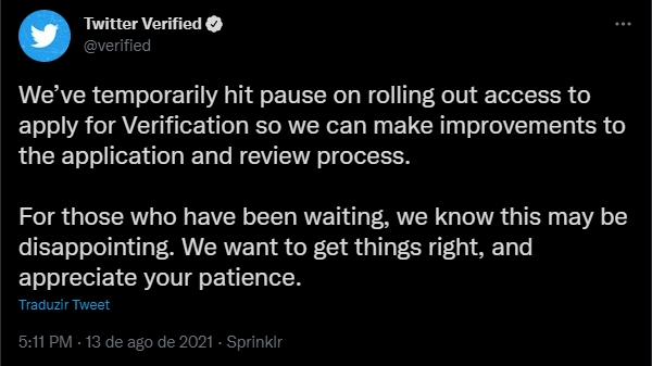 verificação do twitter em pausa