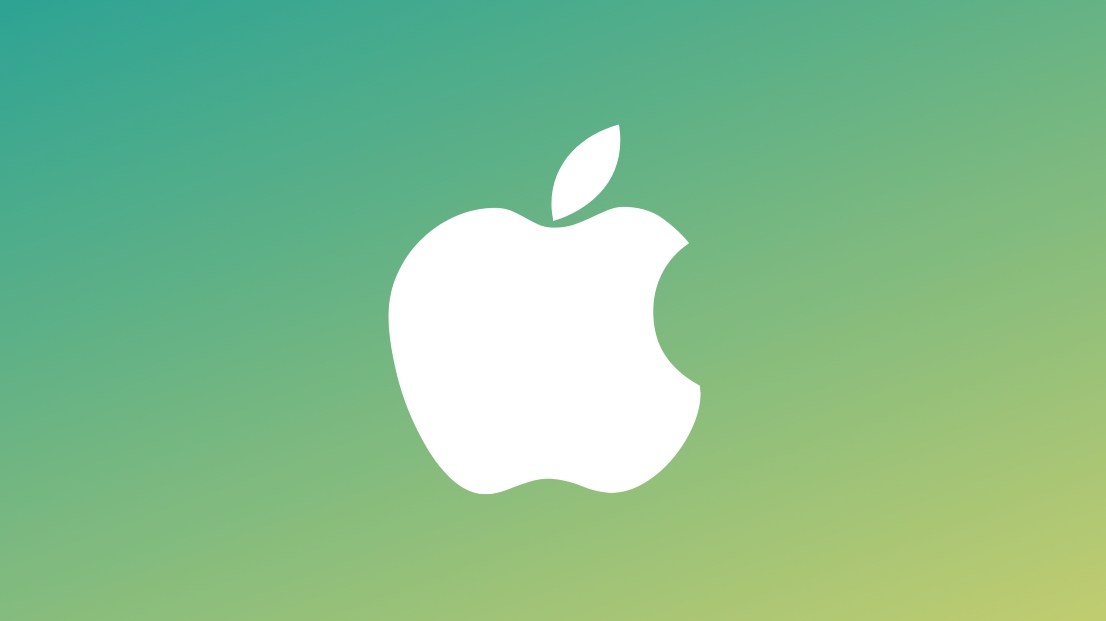 Apple logo sobre fundo verde