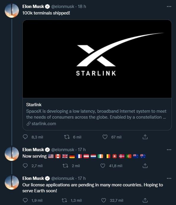 revelação do starlink sobre 100 mil unidades