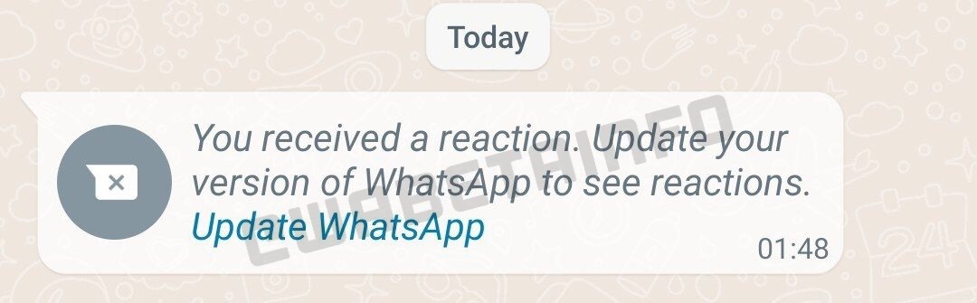 whatsapp beta reações