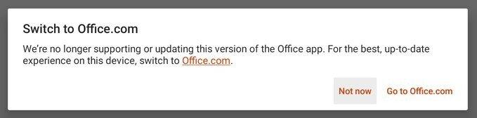 alerta do office no chrome os