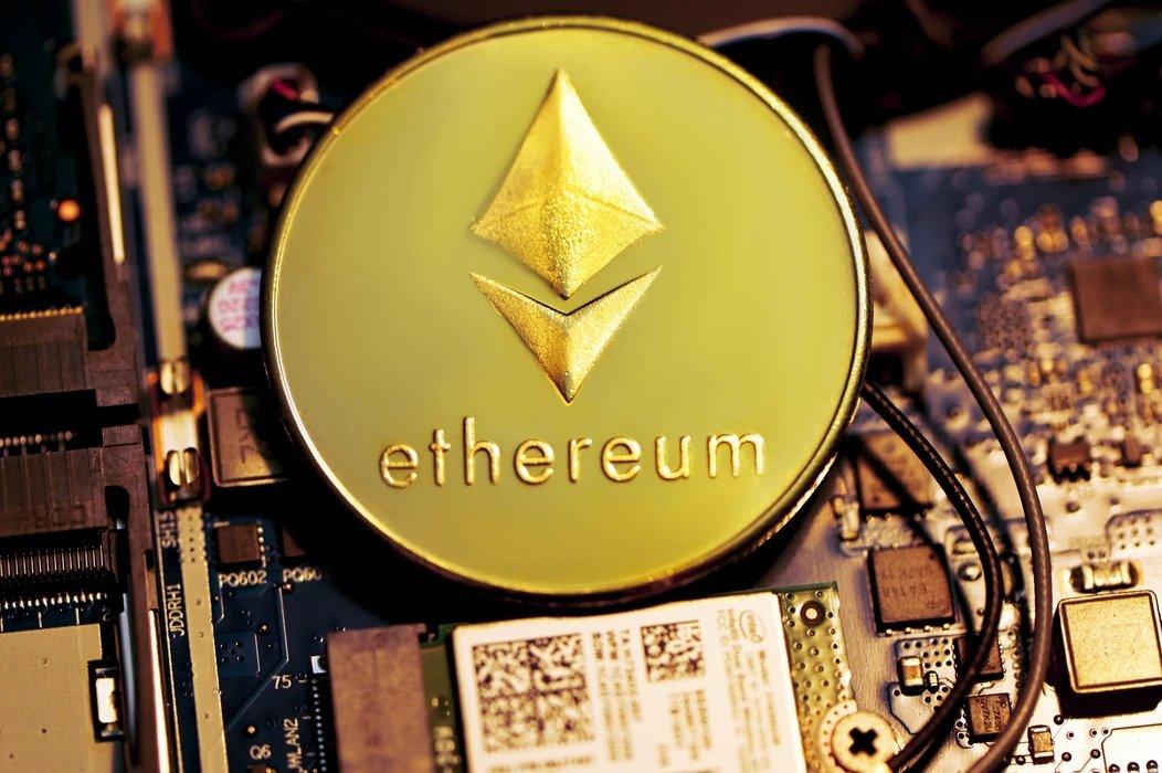 Ethereum criptomoeda sobre placa