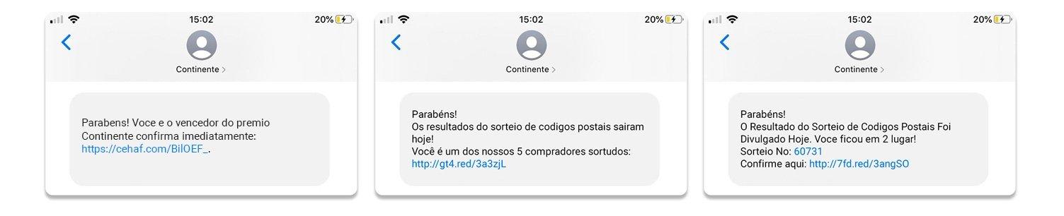 exemplo de phishing continente