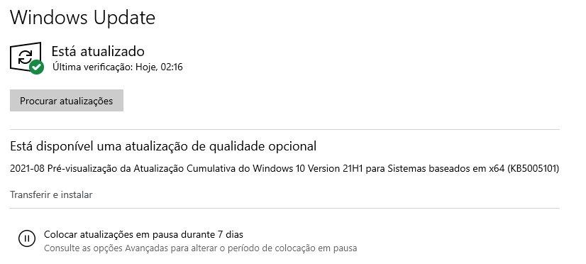 Windows Update nova atualização