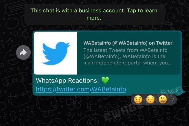 imagem das reações no WhatsApp