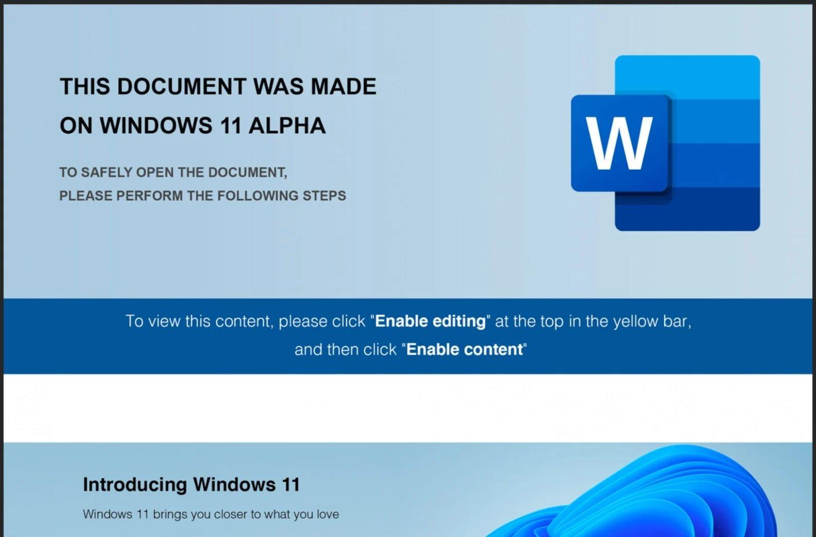 Windows 11 Alpha malware