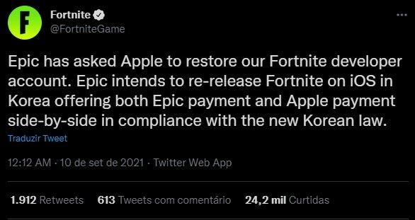 pedido da epic à Apple