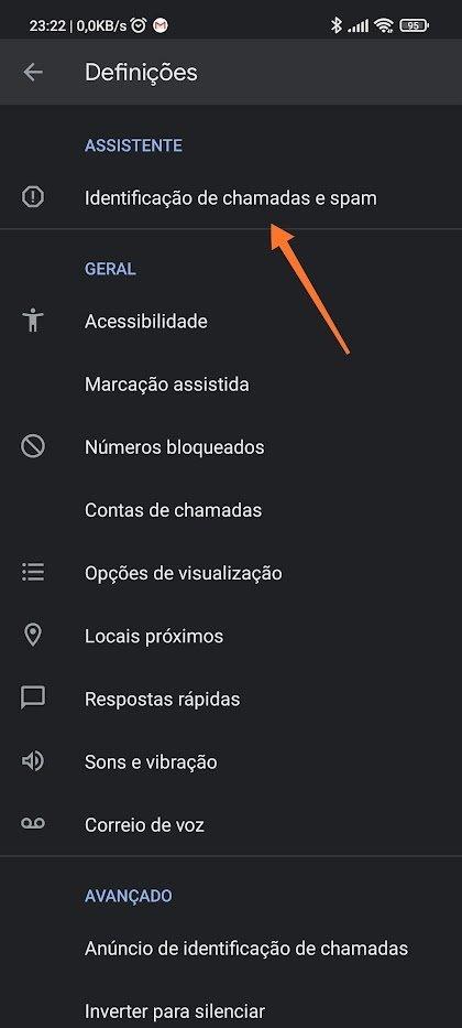 identificação de chamadas de spam na app da Google Telefone