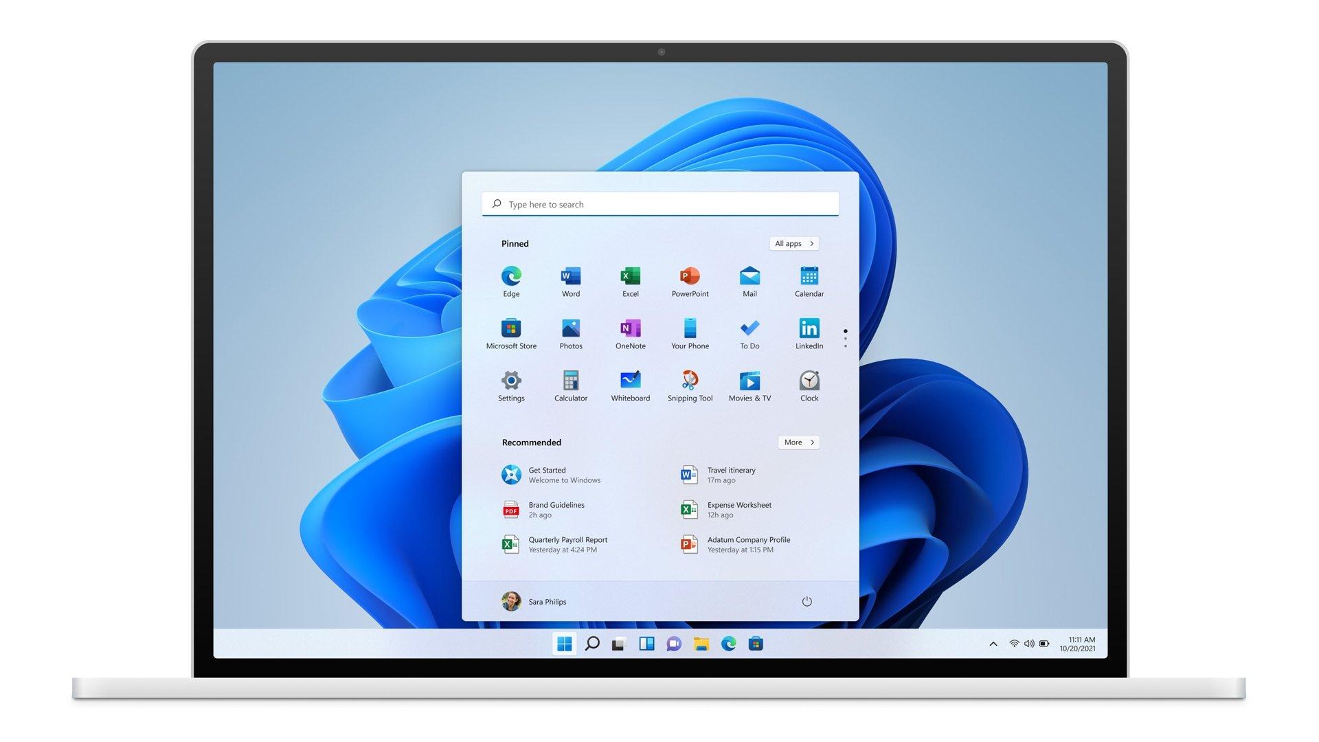 Windows 11 em computador portátil