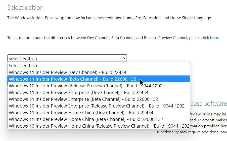 selecionar versão do Windows 11