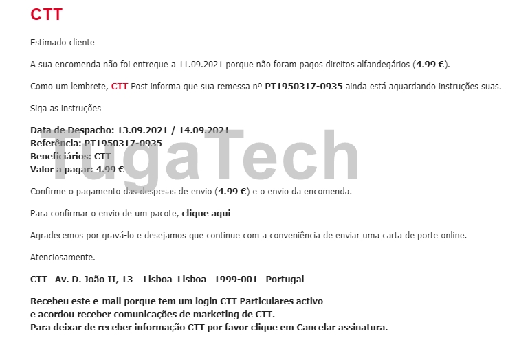 CTT email falso