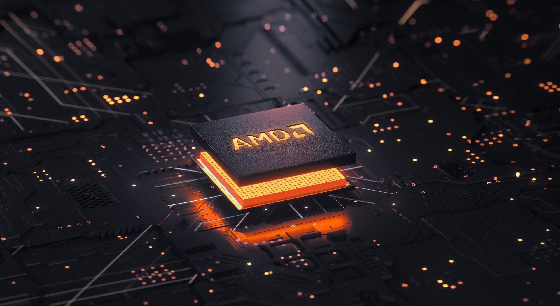 AMD logo em chip