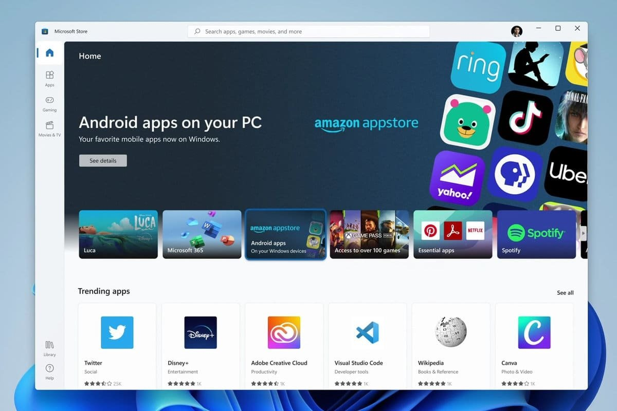 Windows 11 Microsoft store para apps do android