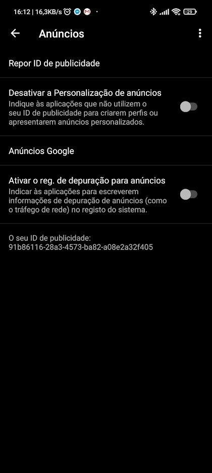Desativar publicidade direcionada no Android