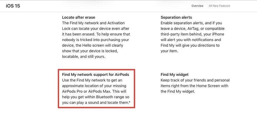 localização de AirPods da apple no site da empresa