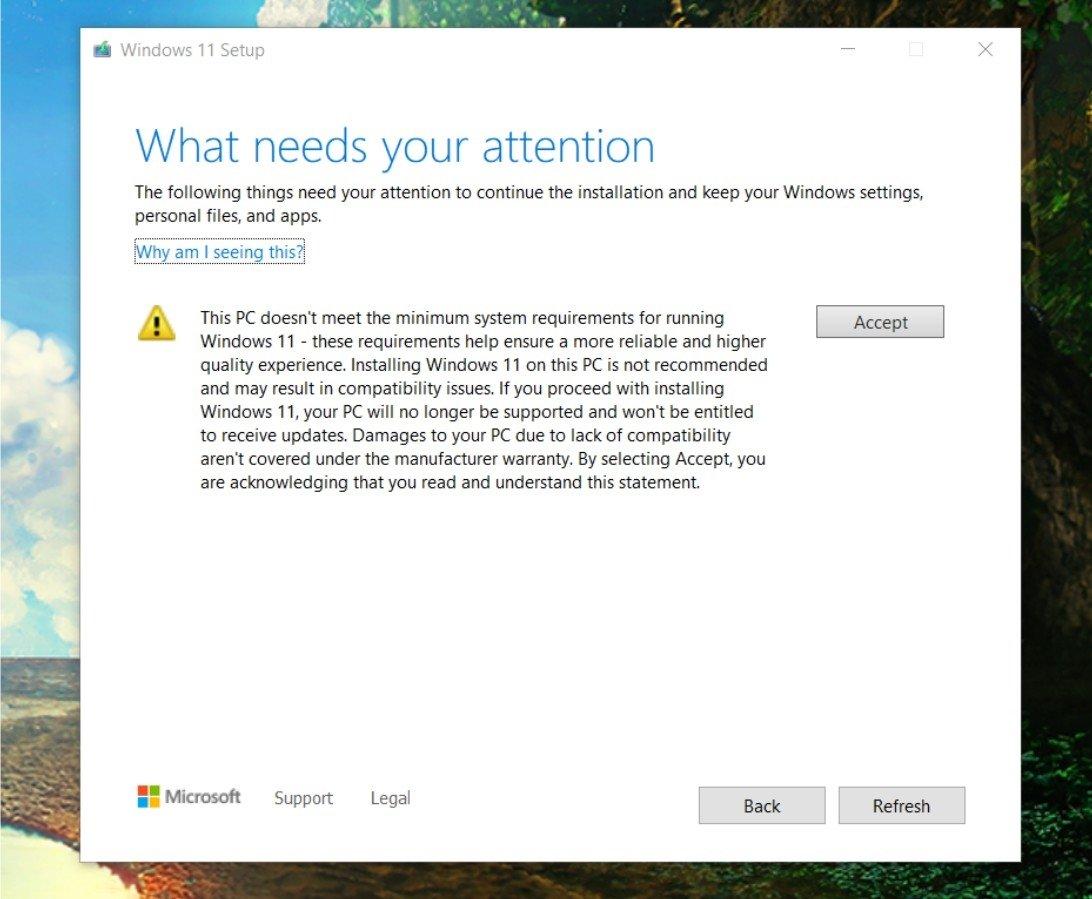 instalação do windows 11 em sistemas não suportados oficialmente