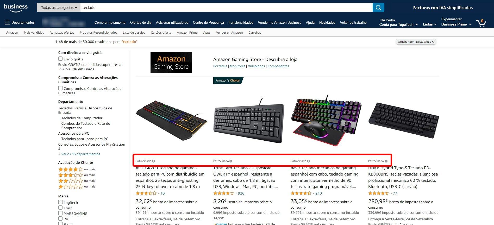 amazon com produtos patrocinados