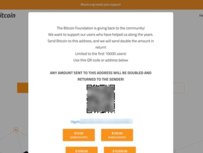 mensagem no site do bitcoin