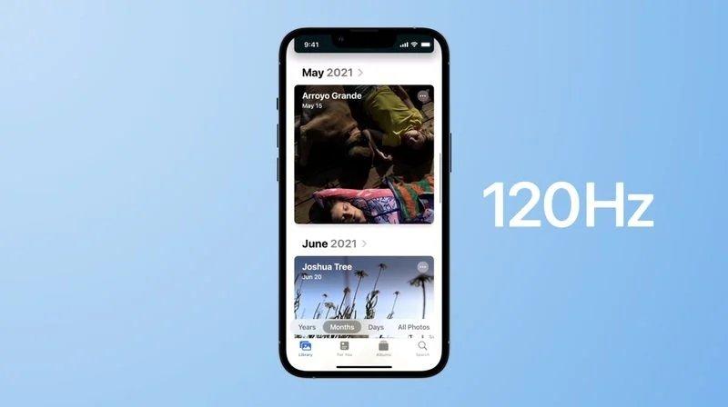 iPhone 13 com ecrã de 120 Hz