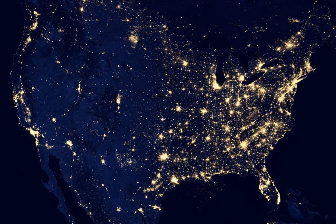 EUA iluminado do espaço