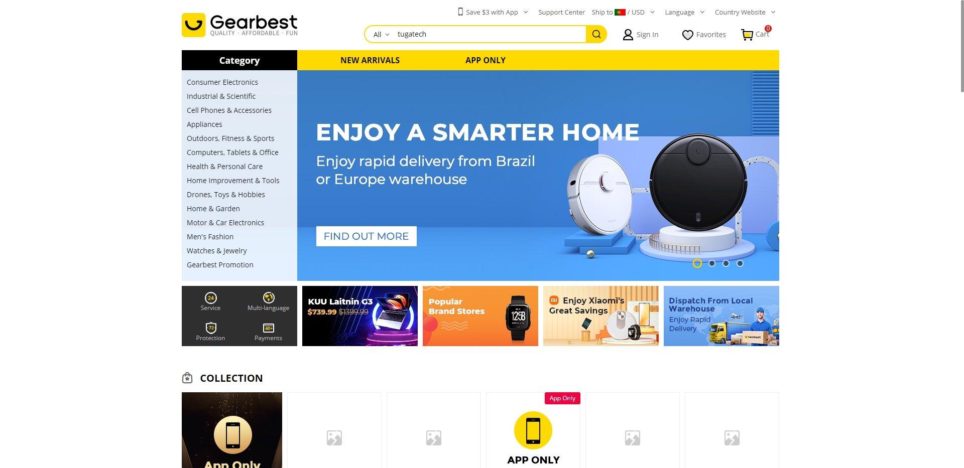 site acessível da gearbest