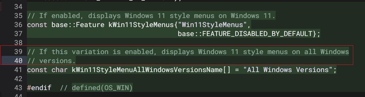 código do chrome sobre menus do Windows 11