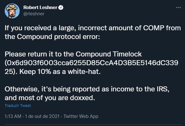 mensagem do fundador da criptomoeda