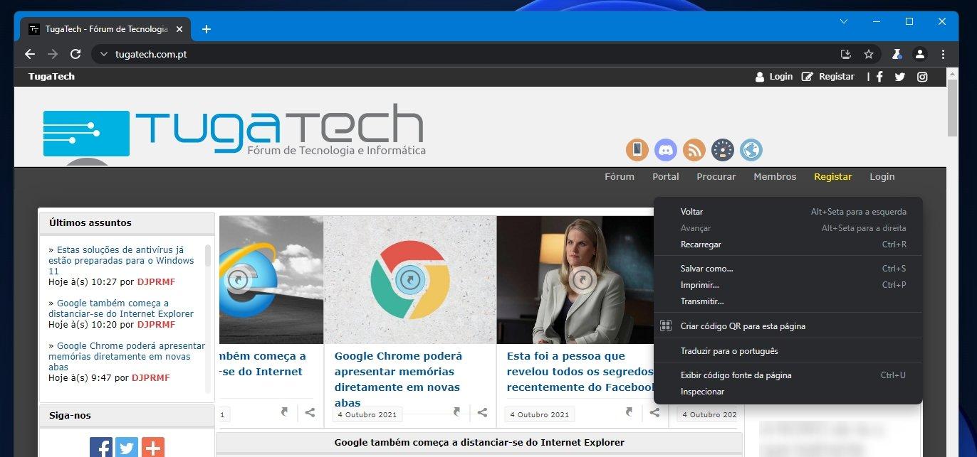 Windows 11 novo menu no chrome