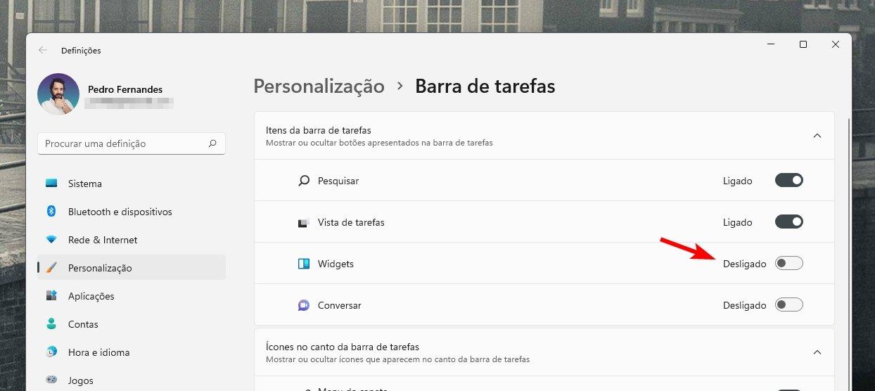 desativar ícone dos widgets no windows 11