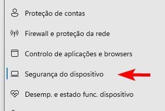 segurança do dispositivo no Windows