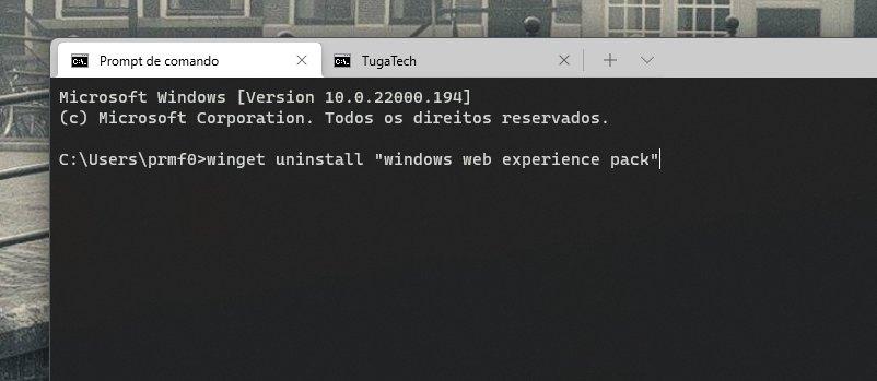 terminal para remover widgets