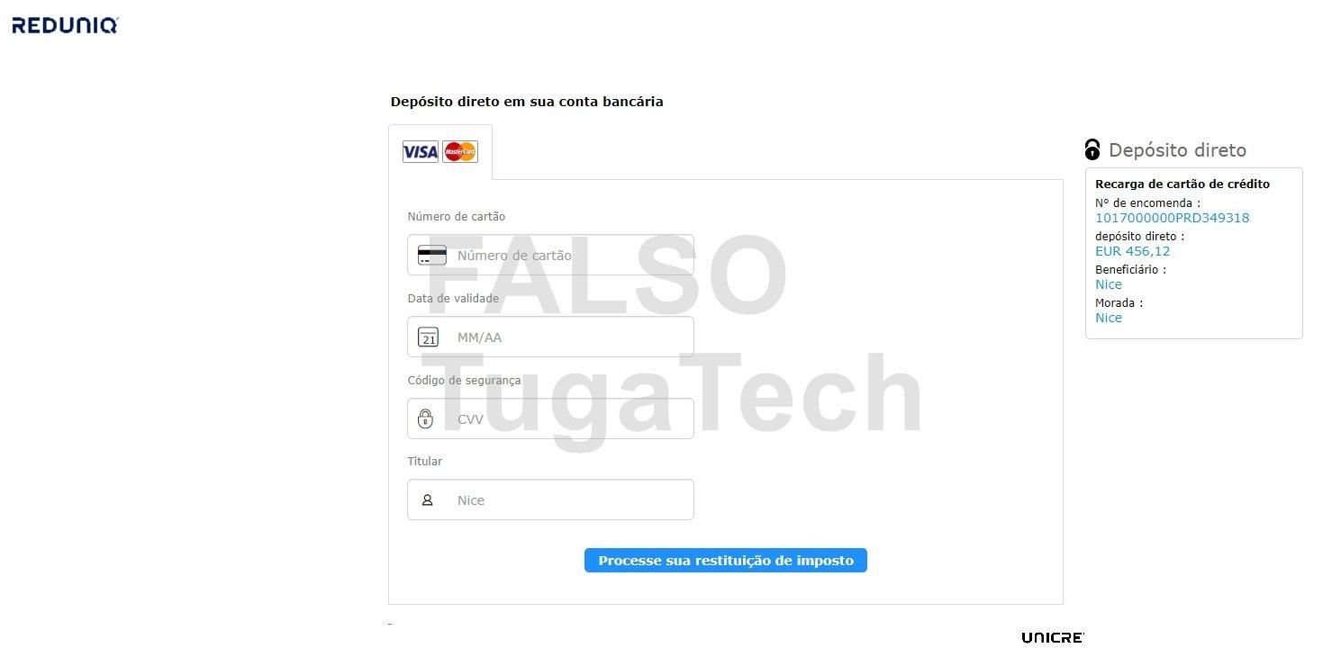 falso site de pagamentos da autoridade tributária