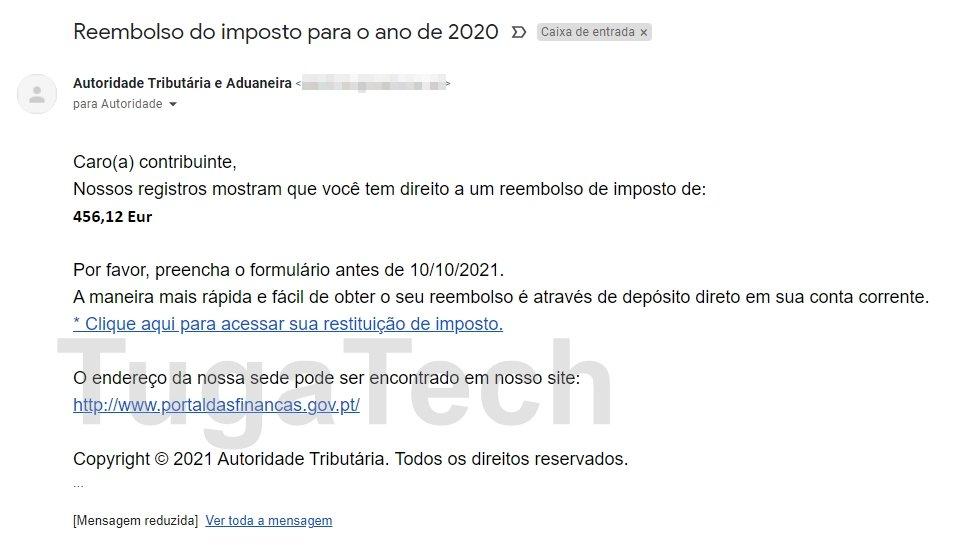 falso email de phishing