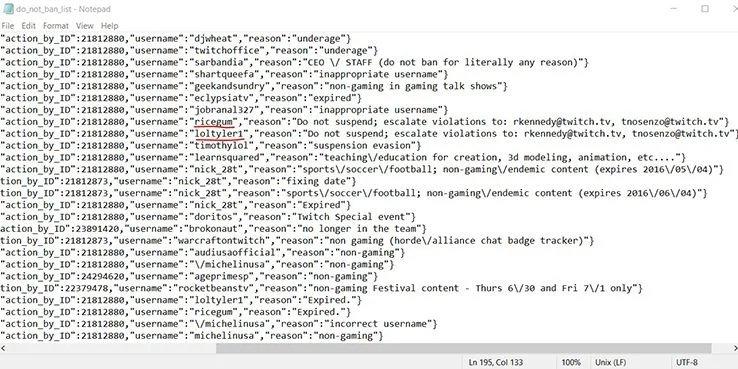 """imagem da lista """"do not block"""" do twitch"""