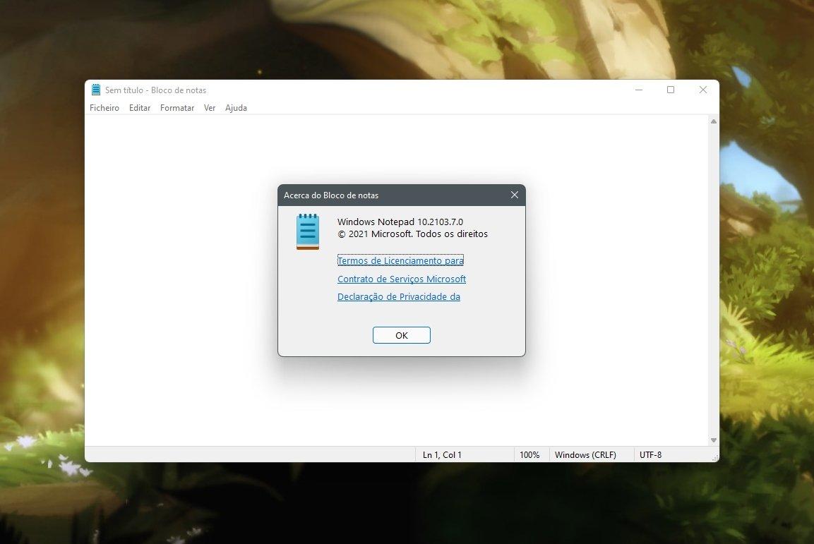 Bloco de notas no Windows