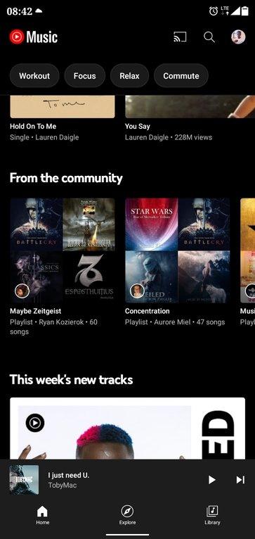 YouTube music com playlists da comunidade