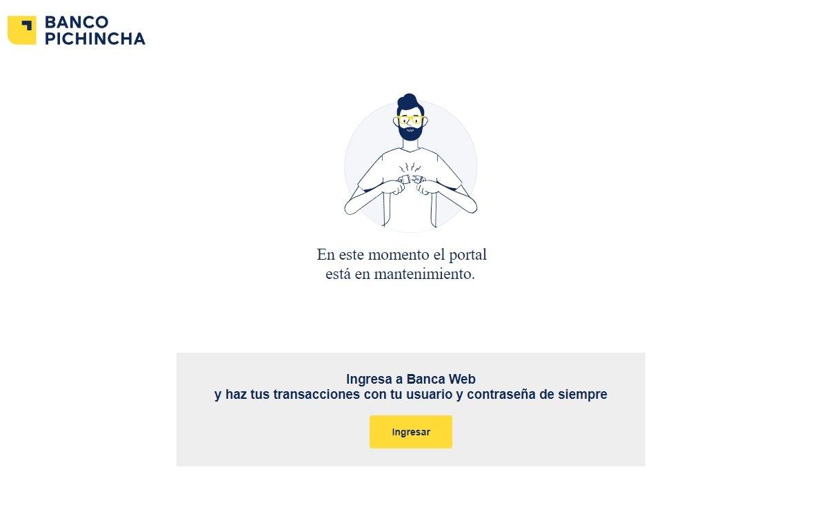 mensagem de erro no site do banco