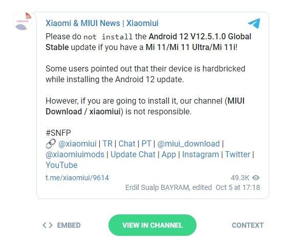 falhas com miui no Android 12